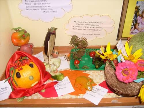 Поделки из цветной капусты и фруктов для детского сада.